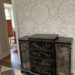 Spectacular chinoiserie antique chest with hidden storage inside the drawer