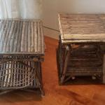 2 Wood Glass Top End Tables