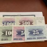 Bosnia 5 banconote nuove mnh 1992