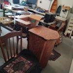 Tiger oak record cabinet