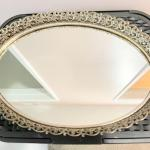 Lot 217  Vintage Mirrored Vanity Tray Goldtone Metal Frame