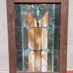 "Lot 185G. Vintage framed stained glass window (27-1/4"" x 39"")--$150"