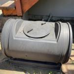 Lot 174G. Barrel Composter and base--$65