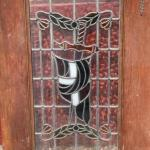 "Lot 186G. Vintage framed stained glass window (28"" x 35"") --$150"