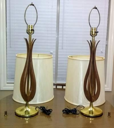 Photo 2 of Vintage 2 Mid-Century Danish Modern lamps w/shades