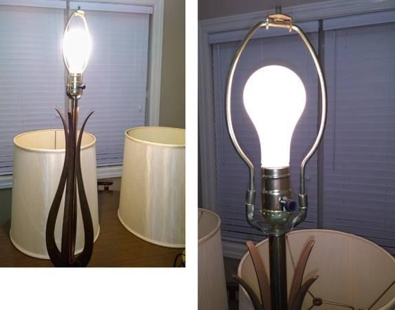 Photo 5 of Vintage 2 Mid-Century Danish Modern lamps w/shades