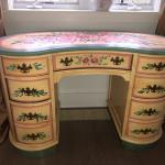 HAND PAINTED VINTAGE VANITY TABLE WITH SEVEN DRAWERS; BEAUTIFUL PIECE!