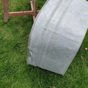 Photo of Primitive galvanised tub on stand understand