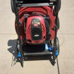 Toro  wear wheel drive and stands up to take less space in garage