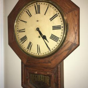 Photo of Antique Ansonia schoolhouse regulator clock