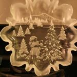 """Vintage Clear Frosted """"Christmas Story"""" Ruffled Glass Bon Bon Candy Dish Holiday"""