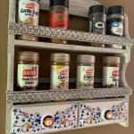 Vintage Japanese wooden porcelain drawers spice rack! 973-600-3177