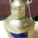Brass Nautical Oil Lamp Starboard Side Blue Glass Globe