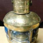Brass Nautical Oil Lamp Port, Starboard, and Masthead  Blue, Red, and Clear Glas