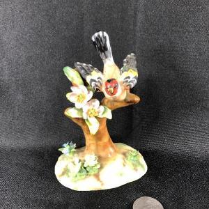 Photo of Vintage Marked Staffordshire Bird in Tree Figurine