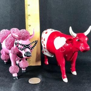 Photo of Pair of Cow Parade Figurines Moocho Amor French Moodle