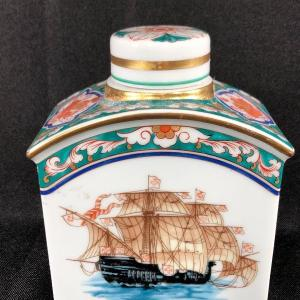 Photo of Vintage Ceramic Sailing Ship Decanter Apothecary Jar Vista Alegre Portugal