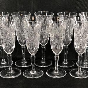 Photo of Vintage Cut Crystal Champagne Glasses Stemware Set of 9