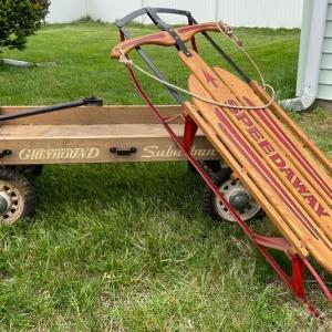 Photo of Lot S8- Antique Wood Hamilton Greyhound Wagon & Speedaway Sled