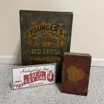 Lot 253 - Vintage Boxes & Sign Replica