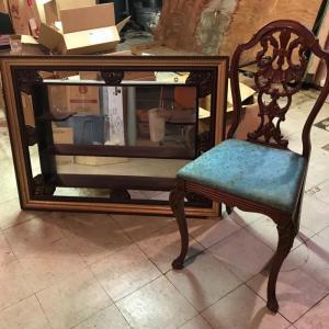 Photo of Lot 37B:  Vintage Mirror w/Shelf & Chair