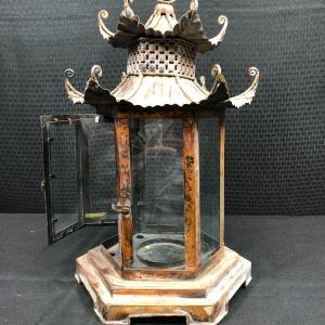 Photo of Copper Lantern Asian Pagoda Style Candle Holder
