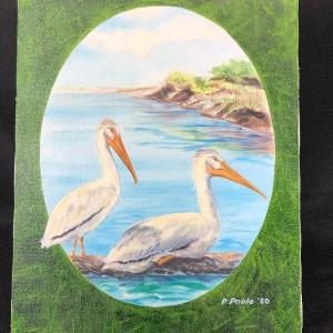 Photo of Vintage P. Poole Pelican Painting Canvas Unframed