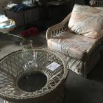 Wicker chair glass table