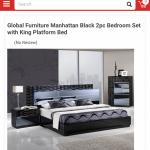 Manhattan king size bed frame with side drawer
