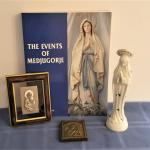 Lot #53  Religious Lot - Virgin Mary book, statue, 2 icons