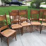 Antiques solid oak, pressed back, cane seat chairs