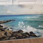 Framed canvas  splashing  ocean.