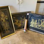 Vintage Rare Italian Framed Brass Rubbings Lot of 3