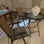 Outdoor bistro table and two chairs