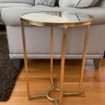 Gold and glass round accent table