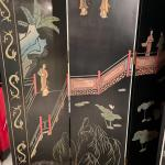 Stunning Asian folding screen with raised paint detail