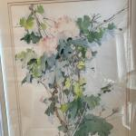 Matted and framed signed floral art