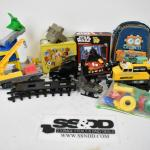 Lot of Kids' Toys: Trains, Helicopter, Truck, Cars, Backpack, Lunchbox