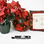 3pc Holiday Decor: Wreath, Fake Flower Pot, Pillow
