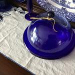 Vintage Cobalt Blue Covered Plate Set