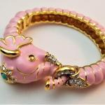 Lot #25  Kenneth Jay Lane Pink Elephant Bracelet