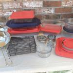 serving dishes, accessories, colander, etc.