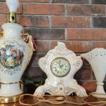 Antique Victorian Style Clock and Lamp