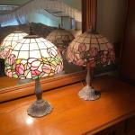 Pair of Small Stained Glass Dresser or Fireplace Lamps, pink flowers, window pan