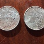 Pair of 1889 Morgan silver dollars. Lot A22