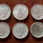 1922 Peace Silver dollar collection of six! Lot A23