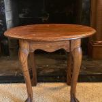 Vintage Tiger Oak Round End Table with Claw & ball FOOT FEET