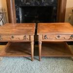 Pair of wood End Tables by J H Biggar Double Decker with Parque tops and one fro