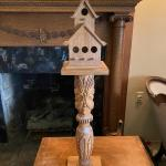 Wood Birdhouse on Carved Pedestal