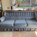 Vintage Blue Floral Oak Trim Couch